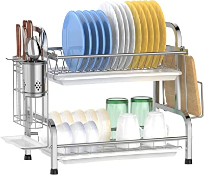 Dish Drying Rack, F-color 2 Tier Compact Dish Rack with Utensil Holder for Kitchen Counter Top, 304 Stainless Steel Anti Rust Dish Drainer Shelf with Drain Board, Silver