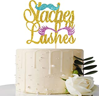 Maicaiffe Gold Glitter Staches or Lashes Cake Topper - Gender Reveal Cake Topper - Boy or Girl / He or She / Gender Reveal...