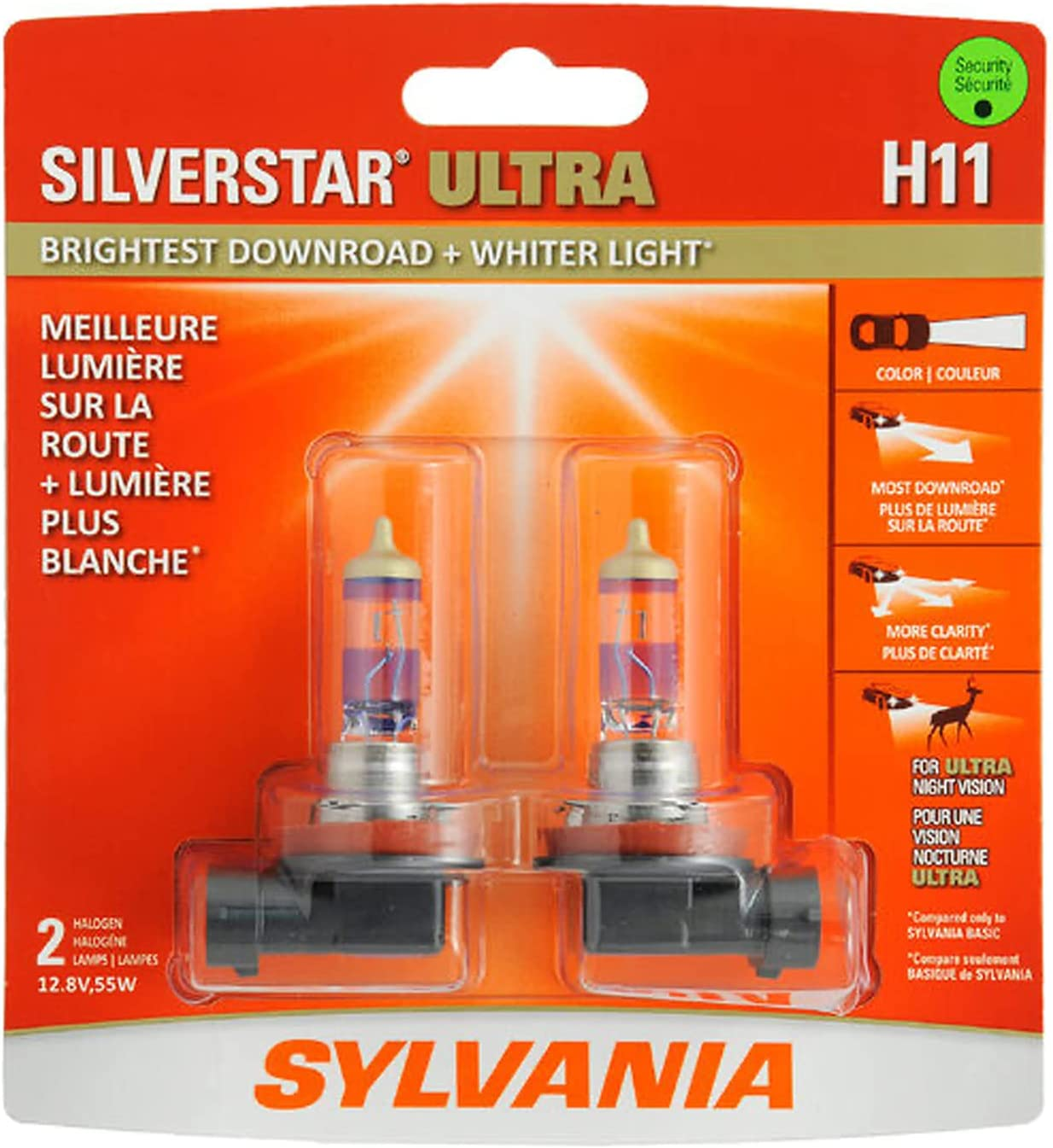 Sylvania H11 SilverStar Ultra High Performance Halogen Headlight Bulb