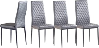 Set of 4 Leather Dining Chairs Set, with Upholstered...
