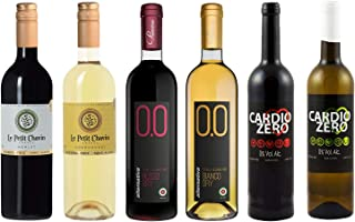 Wine Weekend Assortment - Six (6) Non-Alcoholic Wines - Le Petit Merlot, Chardonnay, Cardio Red, Cardio White, Rosso Dry, and Bianco Dry
