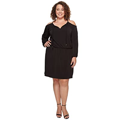 MICHAEL Michael Kors Plus Size Cold Shoulder Dress (Black) Women