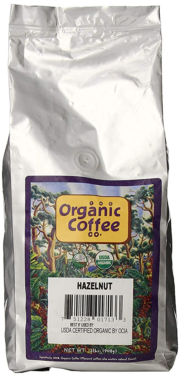 The Organic Coffee Co Hazelnut Crème Whole Bean, 2 Pound Bag, Flavored USDA Organic Whole Bean Premium Coffee, For Use with At-Home Coffee Grinders and Coffee Makers