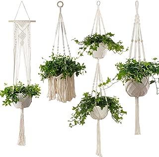 4-Piece Macrame Plant Hangers - Hanging Flower Pot Planter Holder for Indoor Plants, Boho Bohemian Home Decor