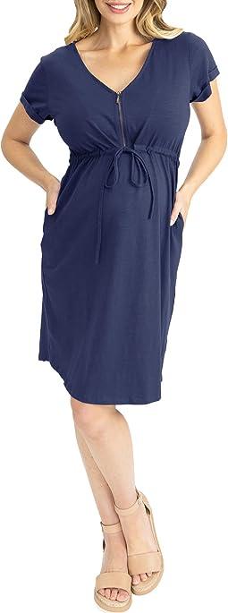 Maternity & Nursing Zipper Drawstring Dress