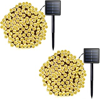 Lalapao 2 Pack Solar String Lights 72ft 22m 200 LED 8 Modes Solar Powered Outdoor Lighting Waterproof Christmas Fairy Lights for Xmas Tree Garden Homes Ambiance Wedding Lawn Party Decor (Warm White)