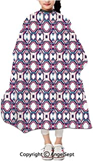 Fashion Cape Haircut Tools For Kids,Hexagonal Diagonal Squares Digital Featured Artistic Modern Magenta Pale Pink Night Blue,47.2×39.4 inches,Hair Cutting Hairdressing Cloth