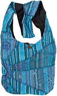 Turquoise Embroidered Peace and Sunrise Sling Purse Handbag by Original Collections