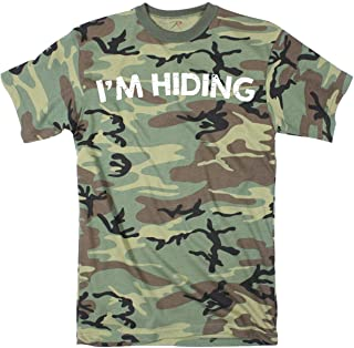 Crazy Dog T-Shirts Mens Im Hiding Camo Tee Shirt Funny Sarcastic Military Tee for Guys