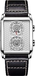Marvin メンズ 長方形腕時計 スイス製 クォーツムーブメント サファイアガラス 防水 ホワイト/ブラック