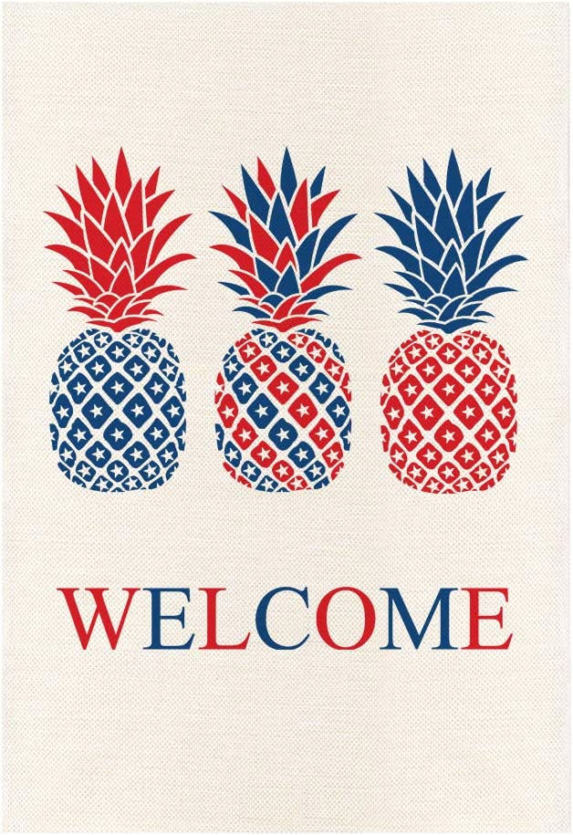 MONORD 4th of July Pineapples Garden Flag Vertical Double Sided, Welcome Summer Patriotic Independence Day Yard Outdoor Decor 12.5 x 18 Inches
