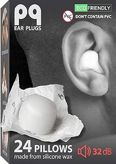 PQ Earplugs for Sleeping, Swimming - 24 Wax Ear Plugs. Sound Blocking Level 32 dB, PQ Noise Cancelling Ear Plugs for - Sho...