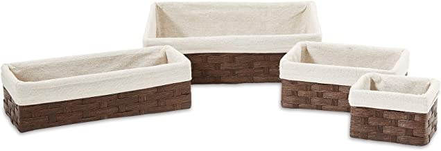 Americanflat Set of 4 Woven Paper Storage Baskets with Removable Linen Liners - Durable Metal Frame - Nesting Baskets for ...