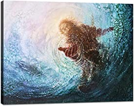 Yatsen Bridge Modern Jesus Wall Art Christ Canvas Jesus Reaching Into Water Painting Prints Posters Religion Artwork Stretched Ready to Hang for Home Office Decor - 24''Hx36''W