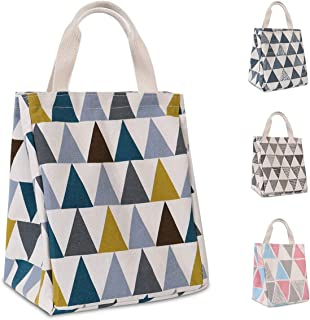 HOMESPON Reusable Lunch Bag Insulated Lunch Box Cute Canvas Fabric with Aluminum Foil, Printed Lunch Tote Handbag Fordable for Women,Men,School, Office (Triangle Pattern-Multi)