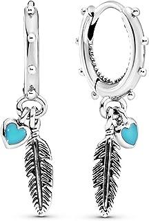 Pandora Women's Sterling Silver Spiritual Feathers Dangle Earrings - 297205EN168
