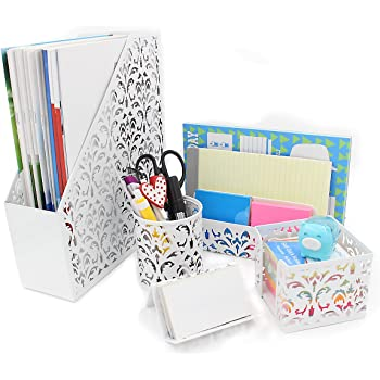 EasyPAG 5-Piece Desk Organizer and Accessories Set -Pencil Holder, Letter Sorter, File Holder,Business Card Holder and Sticky Note Holder,White