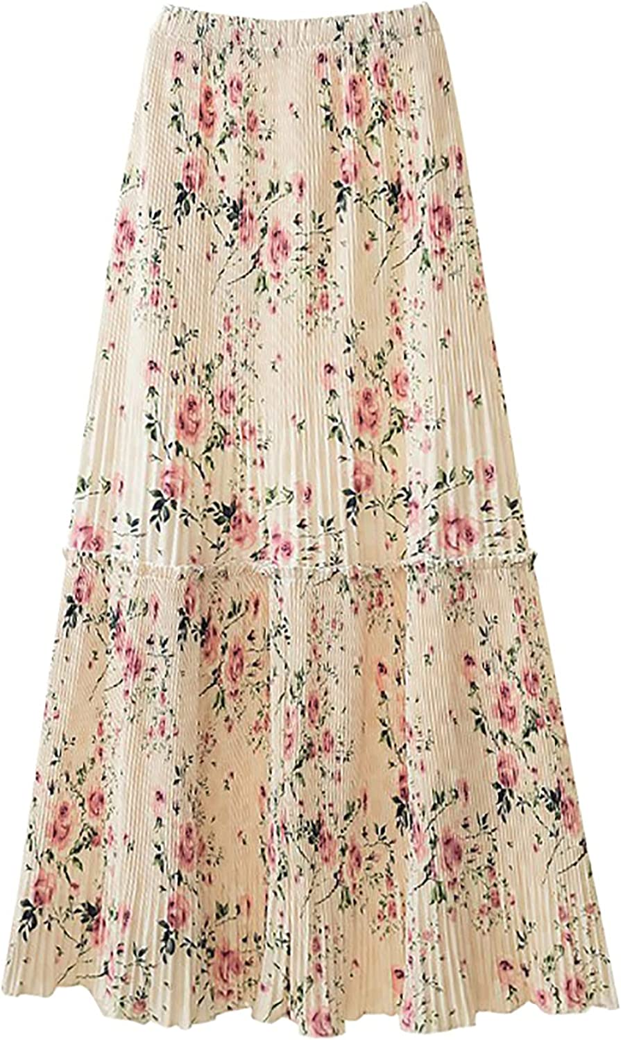 Maxi Skirt for Women Summer Flared Pleated Elastic Waist Ruched