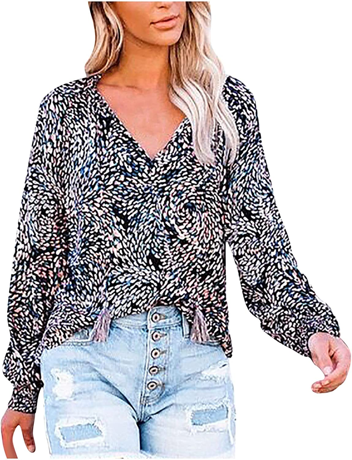 Womens Vintage Tie V Neck Puff Sleeve Button Down Shirts Casual Loose Lantern Long Sleeve Button Blouse Tee Tops
