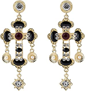 WYWT Acrylic Retro Baroque Gothic Cross Drop Earrings with Crystal Alloy and Pearl Statement Jewelry Boho Style Fashion for Women