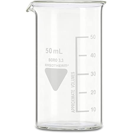 1 neoLab Kimax Boro 3.3 b/écher de laboratoire forme haute avec bec verseur 50 mL Transparent