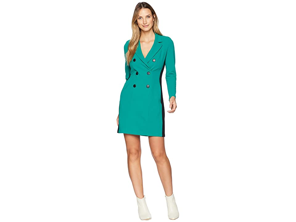 Donna Morgan Double Breasted Coat Dress (Evergreen/Black) Women