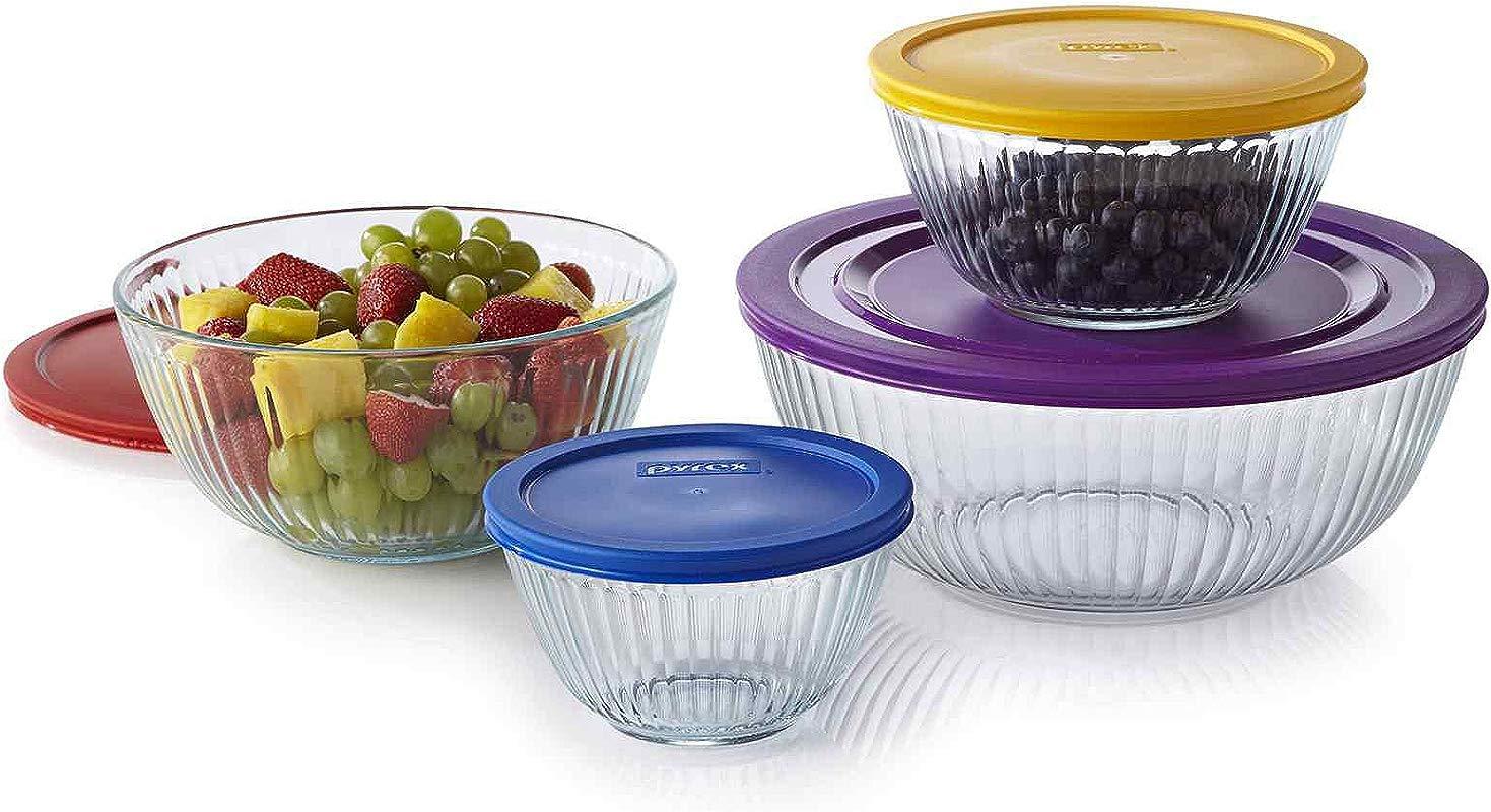 Pyrex 1112377 8 Pc Sculptured Mixing Bowl Set Blue Purple Yellow Red Blue Purple Yellow Red