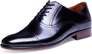 DESAI Genuine Leather Dress Shoes Handmade Cap Toe Lace up Oxfords for Men