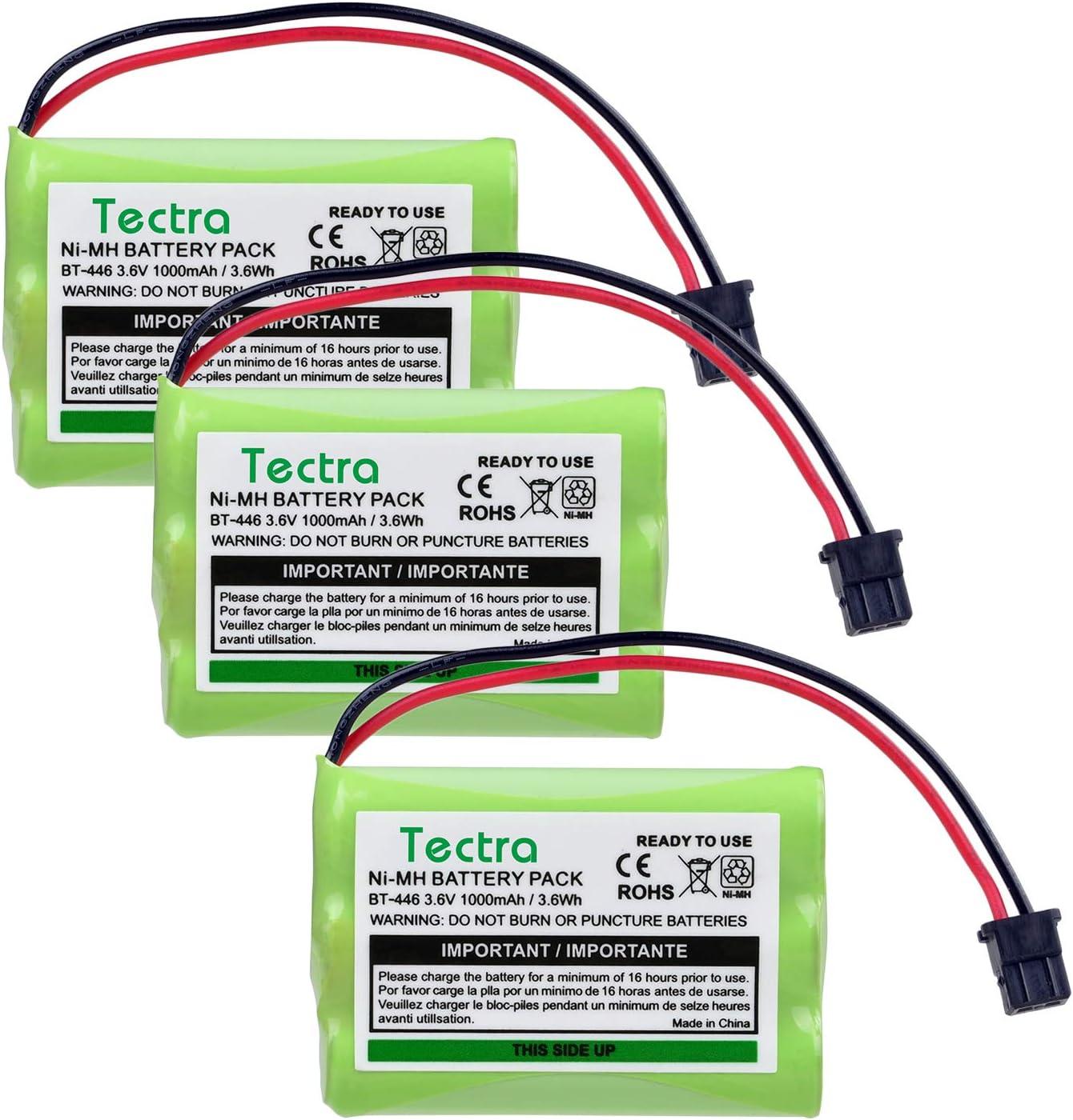Tectra 3-Pack BT-446 BT446 Rechargeable Battery for Uniden Cordless Phone BT-446, BT-1005, TRU8885, UIP1868 TRU8885 TRU885-2 TRU8888 BBTY0503001 (3.6V 800mAh)