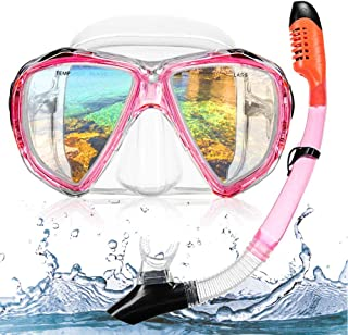 HUBO SPORTS Snorkel Set Adult, Snorkel Mask with Tempered Glass,Diving Mask with Impact Resistant Panoramic View Anti-Fog Leak-Proof Snorkeling Mask,Carry Bag Included