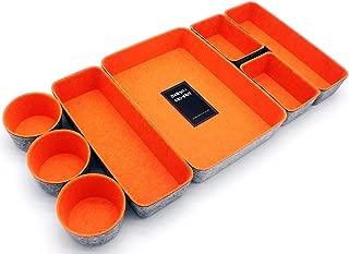 $49 » Welaxy Office Supplies Drawer Organizers Trays Storage Bins Drawers dividers Storage bin Pack -8 (Orange)