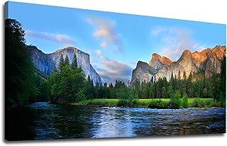 Canvas Wall Art Panorama of Yosemite Valley Painting Canvas Artwork Lake Mountain..