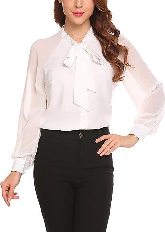 Mujer Camisas Fiesta Verano Manga Larga Casual Blusas con Pajarita Blancas