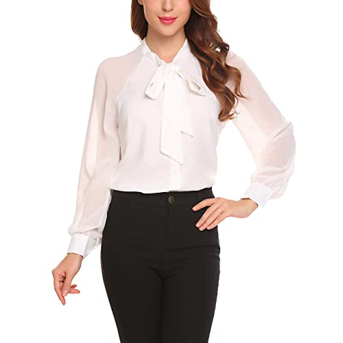 51db2fbd917c36 zhenwei Women Chiffon Blouses Long Sleeve Tops Ladies Elegant School Work  Bow Tie Neck Shirt Black