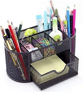Metal Pen Holder Mesh Desk Organizer Multi-functional Stationery Storage Container Box for Kids Office Desktop Supply