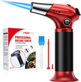 ZEBRE Butane Torch, Culinary Blow Torch Lighter, Refillable Kitchen Cooking Torch with Safety Lock & Adjustable Flame for ...