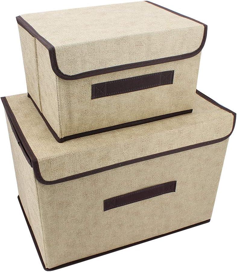 ShawFly - Pack de 2 cajas de almacenamiento con tapa, cajas organizadoras plegables con asa, para guardar ropa, cajas de almacenamiento portátiles a prueba de polvo