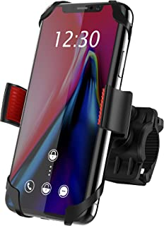 Bike Mount, IPOW Universal Cell Phone Bicycle Rack Handlebar & Motorcycle Holder Cradle for iPhone Xs Max XR X 8 7 6 Plus,Samsung Galaxy S10+ S10 S9 S8 S7 Note 9 8,Nexus,HTC,LG,BlackBerry,Black