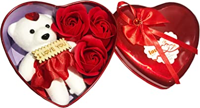 MIMOB Unique Valentine Day Gift for Wife | Special Valentine's Day Gift for Lover | Valentine Day Gift for Wife Heart Shaped Box with Teddy and Roses (Single Heart)