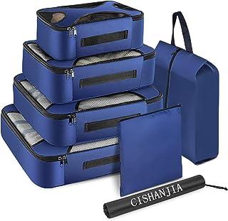 Organizador de Maletas, Set de 7 Organizador de Equipaje para Maleta con Bolsa para Maquillaje, Bolsa para la Colada y Bolsa para Zapatos (Azul Marino)