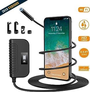 Holife Endoscopio WiFi Cámara de Inspección Distancia Focal 3-500cm Píxeles 200W Resolución 1920 * 1080P Batería de 2600 mAh 6 LED Ajustable IP68 Impermeable/Android y iOS 35M- Ver Claro
