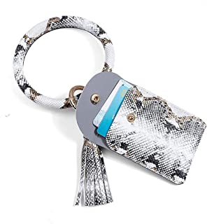 ZCOINS Big o Ring keychain bracelet bangle key ring with Credit Card Holder and Tassel Wristlet Keychain for Women