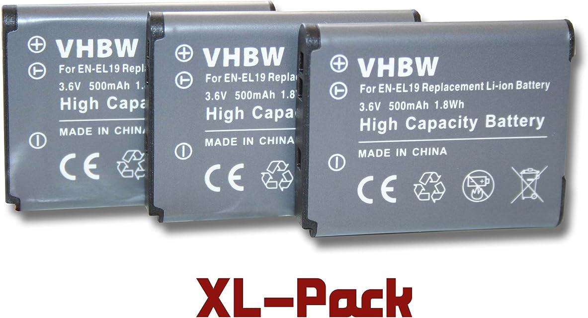 Set 3 x baterías para cámara Nikon CoolPix A100 y EN-EL19