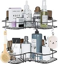 Paquete de 2 cestas de ducha esquineras, estante de baño con 8 potentes ganchos adhesivos, organizador 2 en 1 para inodor...