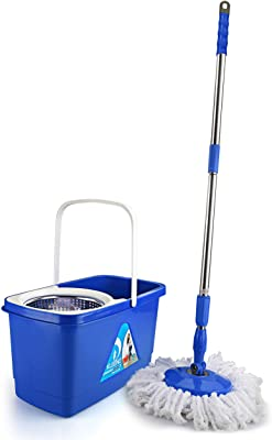 Cello Kleeno Super Clean Spin Mop Bucket (Blue, 3-Pieces)