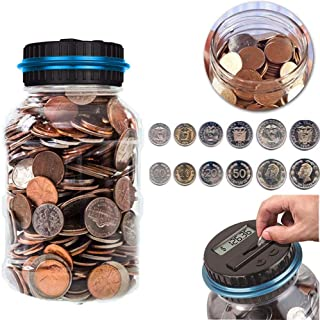 Konesky Coin Holder Digital Piggy Bank, Digital Counting Coin Bank Saving Jar for U.S. Coins with LCD Display for Kids Learning Teaching Counting (1.8L)