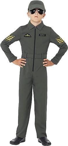 Smiffys Costume aviateur, khaki, combinaison de pilote avec insignes, ceinture et casque intégrés