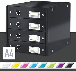 Leitz Click & Store Storage Box, 4 Drawer, Collapsible, Stackable, Patented Design, Bin, Cabinet, Desk Organizer, Black (60490095)