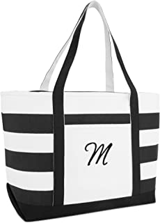 Striped Beach Bag Tote Bags Canvas Personalized Black Ballent Letter A - Z