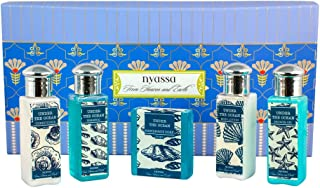 Nyassa Bath Ritual Gift Set with the signature Under the ocean fragrance containing travel friendly sizes of a soap, shower gel, body lotion, shampoo and conditioner.No Parabens, Against animal testing. Vegetarian